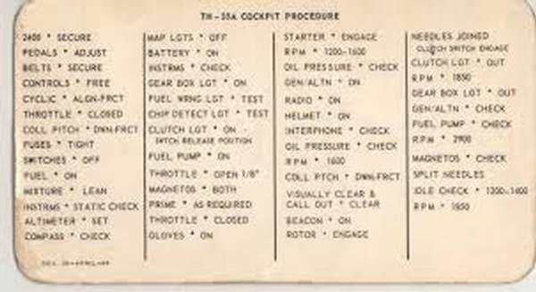 T55 checklist