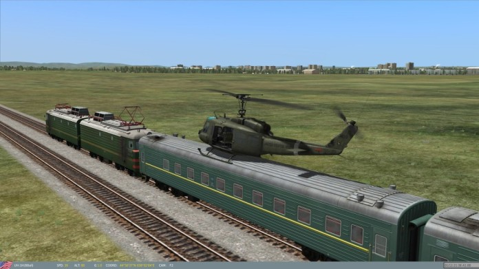 29 Huey on a train